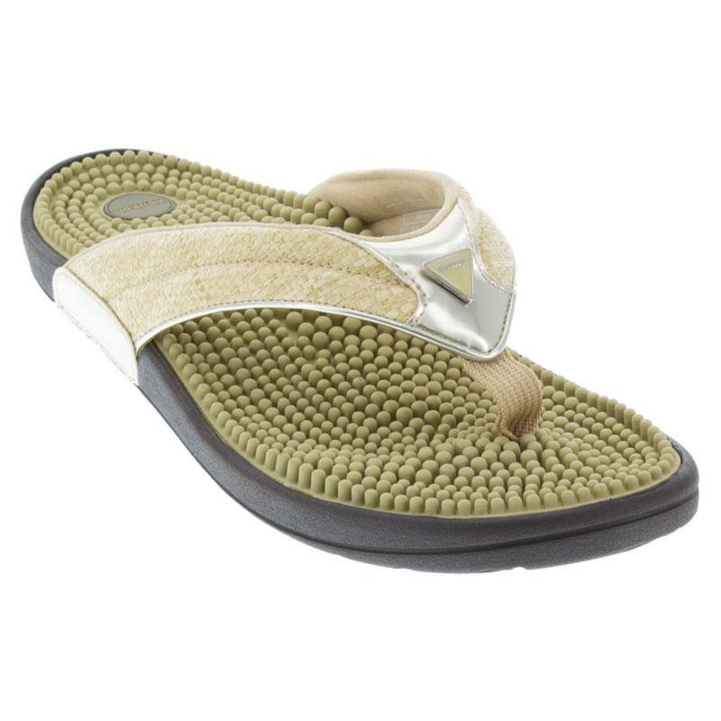 7d289b2a2c6a Kenkoh Spirit Linen Gold Sandals - HappyFeet.com