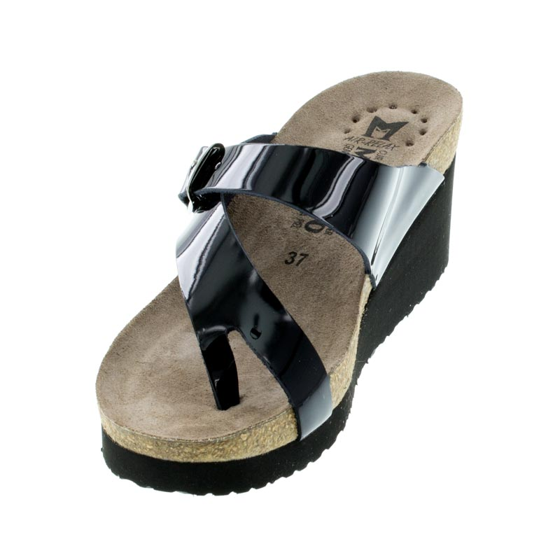 1029f76088 Mephisto Tyfanie Black Patent Leather Sandals left front view