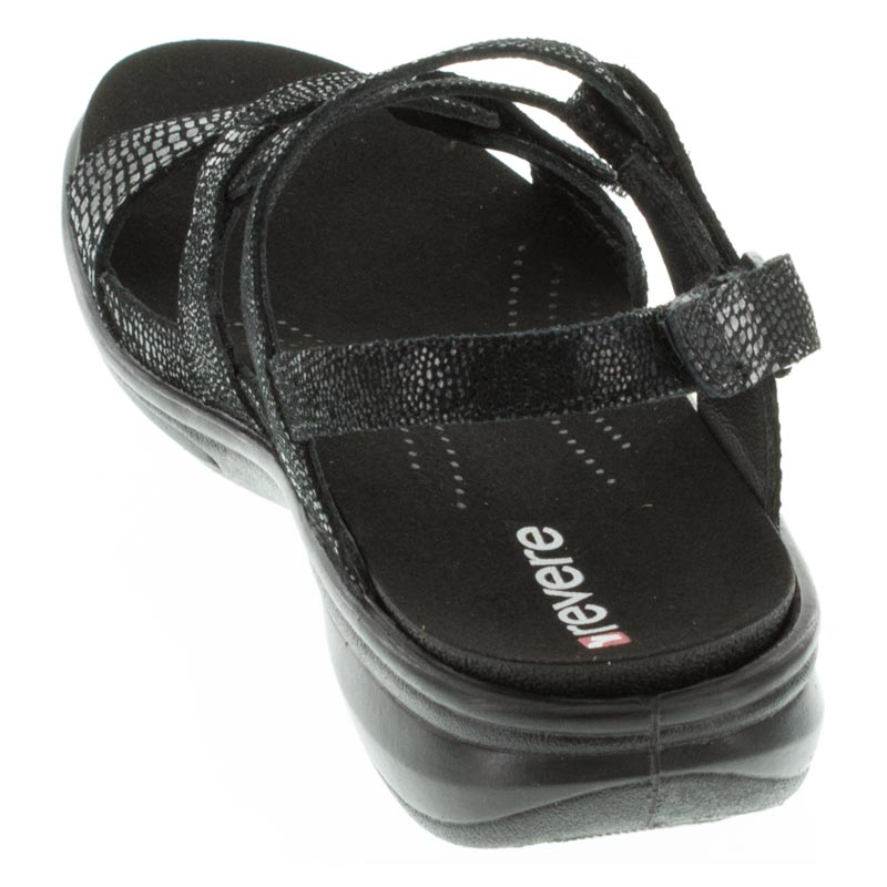 Revere Miami Black Lizard Leather sandals right side view