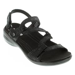 Revere Miami Black Lizard Sandals