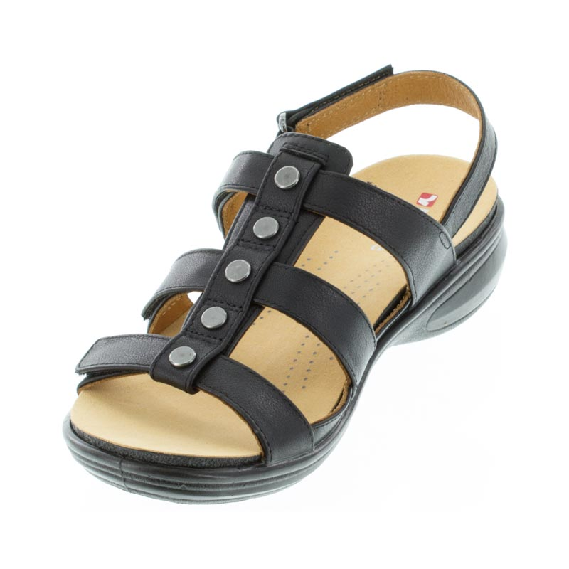 Revere Toledo Black French Leather sandals left front view