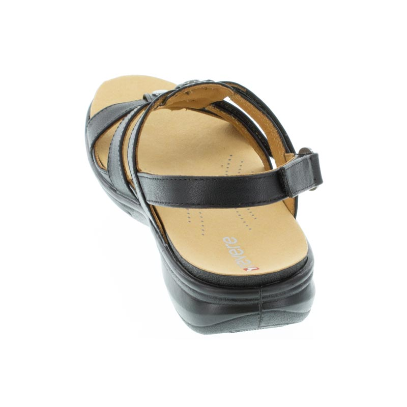 Revere Toledo Black French Leather sandals back view