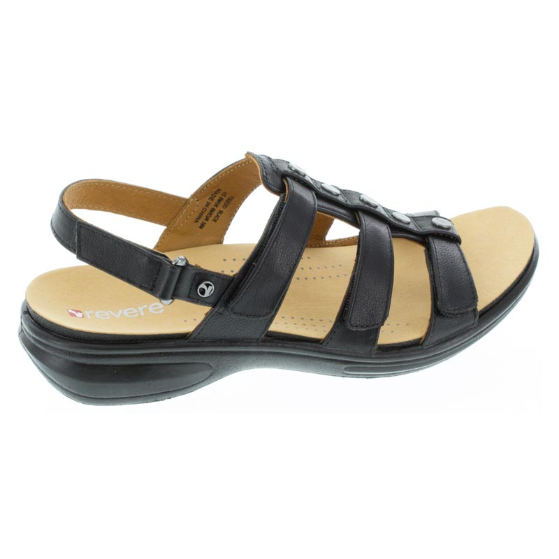 Revere Toledo Black French Leather sandals right side view