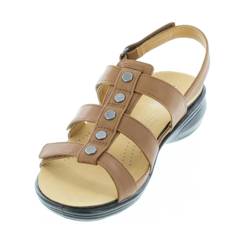 Revere Toledo Cognac Leather sandal left front view