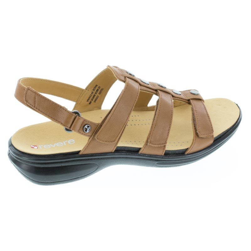 Revere Toledo Cognac Leather sandal right side view
