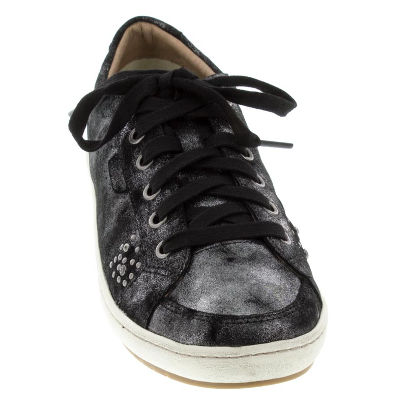 Taos Freedom Black Metallic Leather sneaker front view