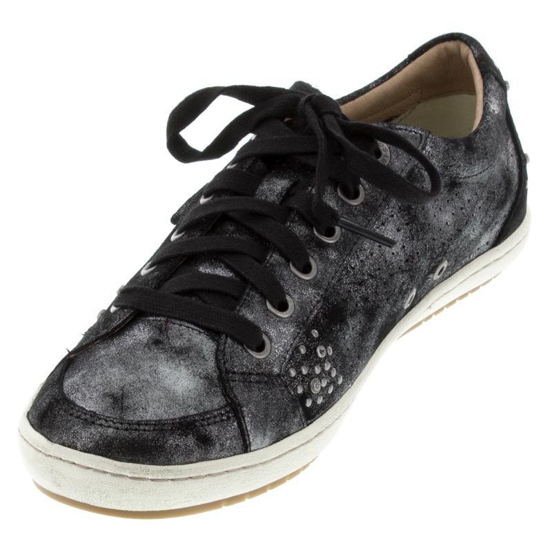 Taos Freedom Black Metallic Leather sneaker left front view