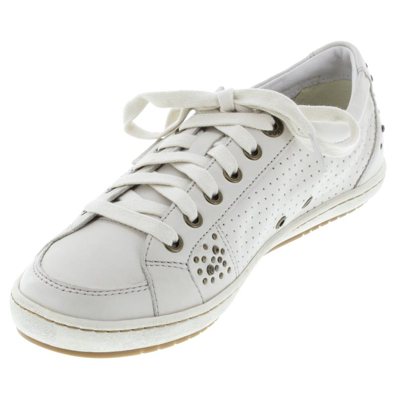 Taos Freedom White Leather sneaker left front view