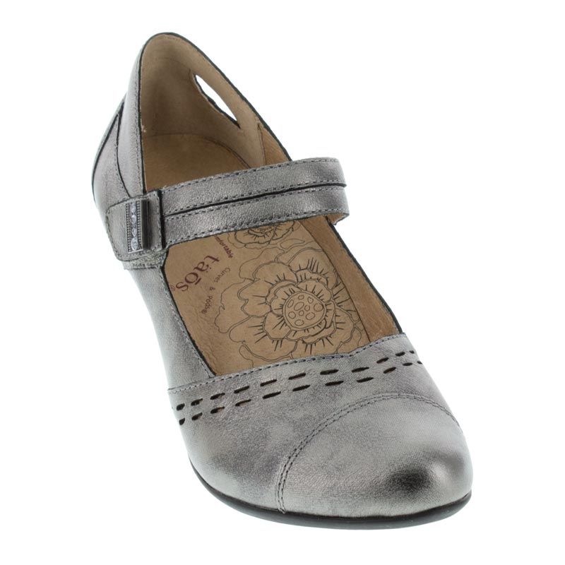 Taos Stunner Pewter Leather High Heel right front view