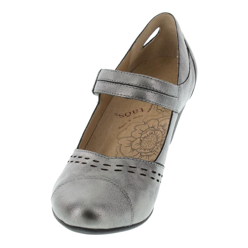 Taos Stunner Pewter Leather High Heel left front view