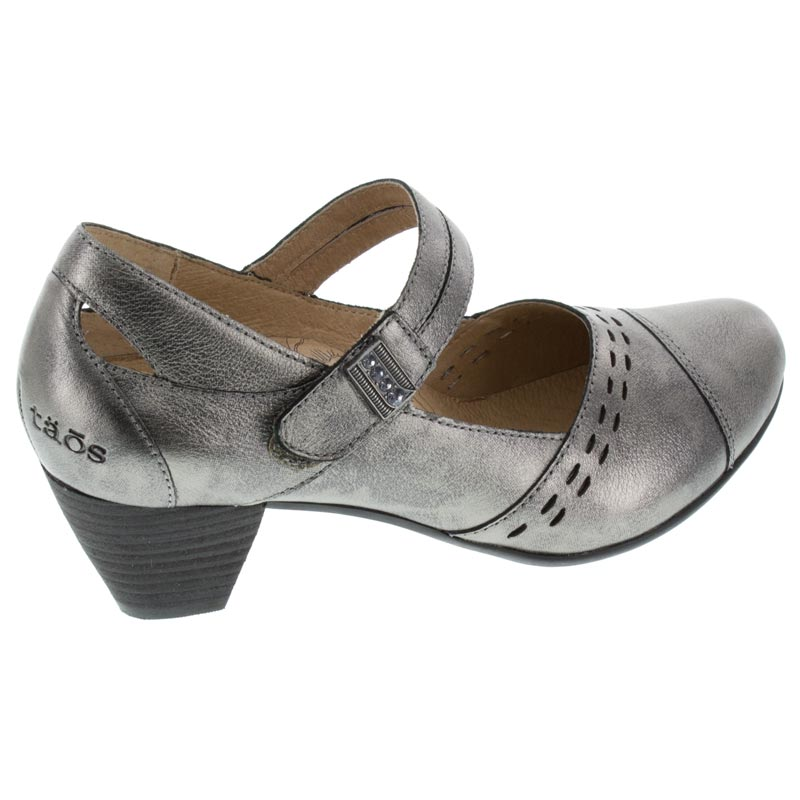 Taos Stunner Pewter Leather High Heel right side view
