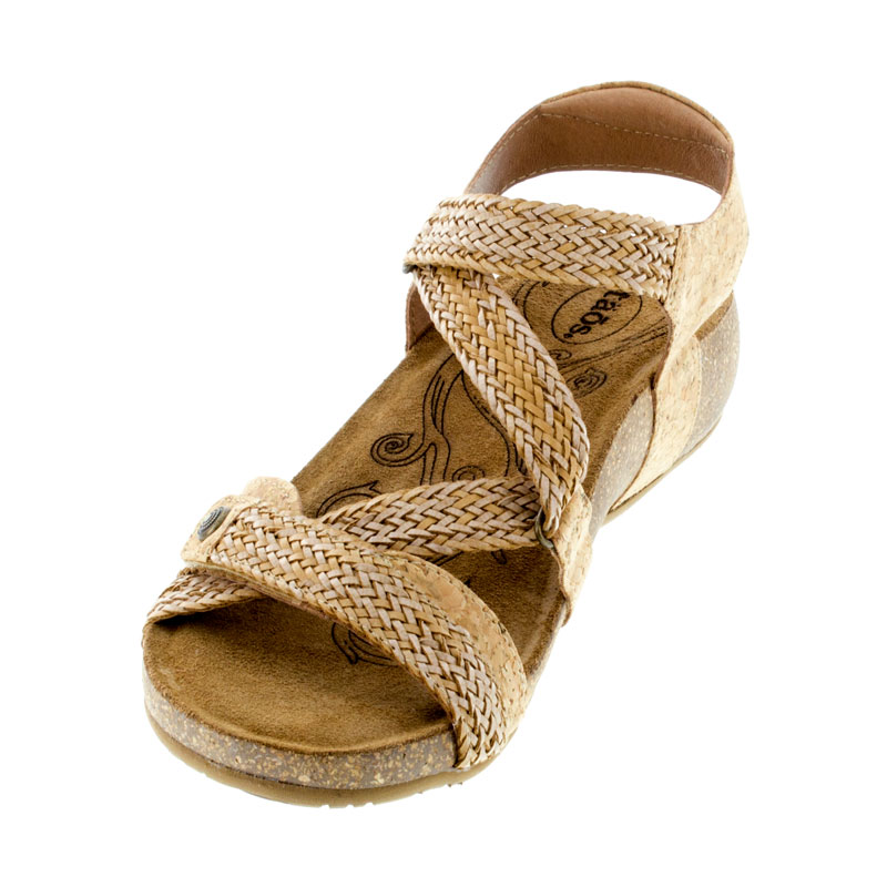 Taos Trulie Cork Leather Sandals left front view