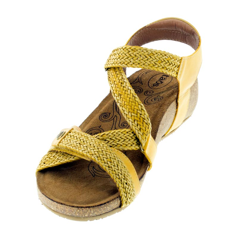 Taos Trulie Golden Yellow Leather sandals left front view