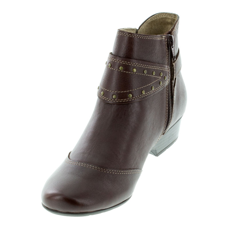 Taos Ultimo Brunette Leather boots left front view