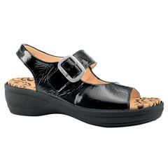 Think Breggal Leather Black Sandals