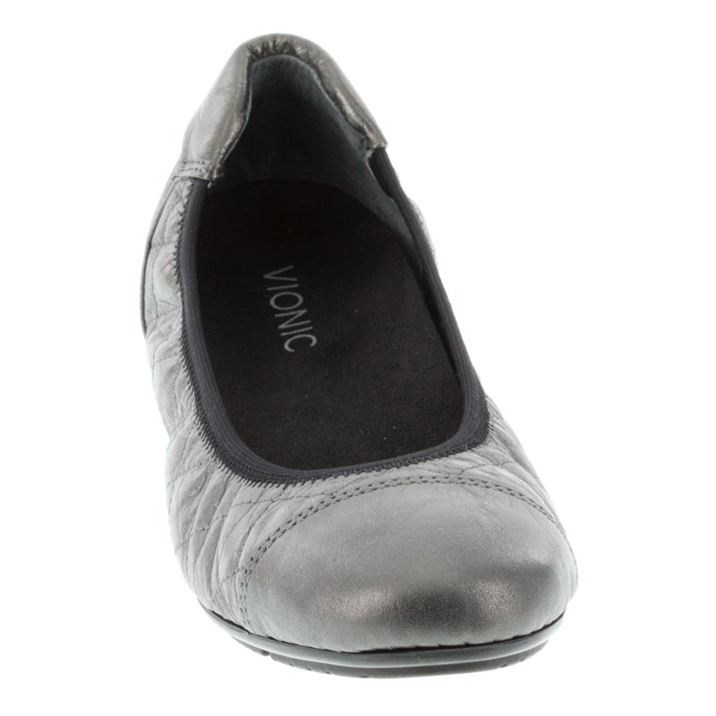 Vionic Ava Pewter Leather front right shoe