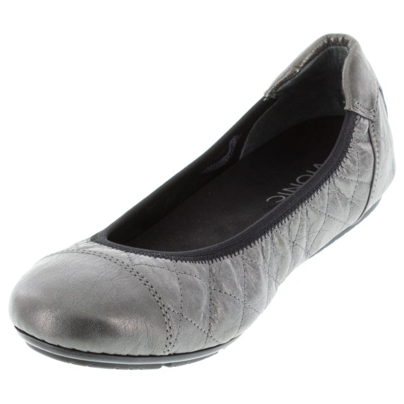 Vionic Ava Pewter Leather left side front right shoe