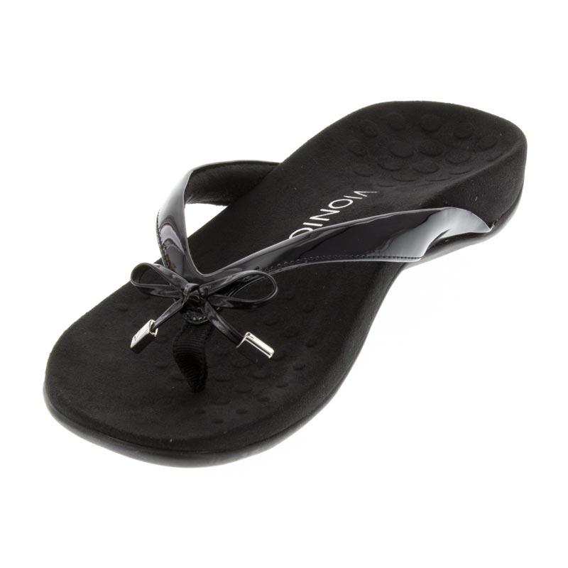 624293e58282 Vionic Bella 2 Synthetic Black Sandals - HappyFeet.com
