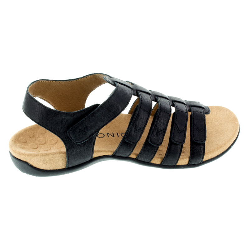 Vionic Harissa Black Leather sandals right side view