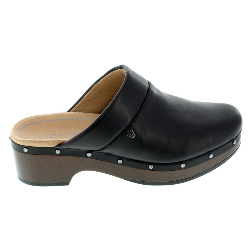 Vionic Kacie Black Leather Clogs right side view
