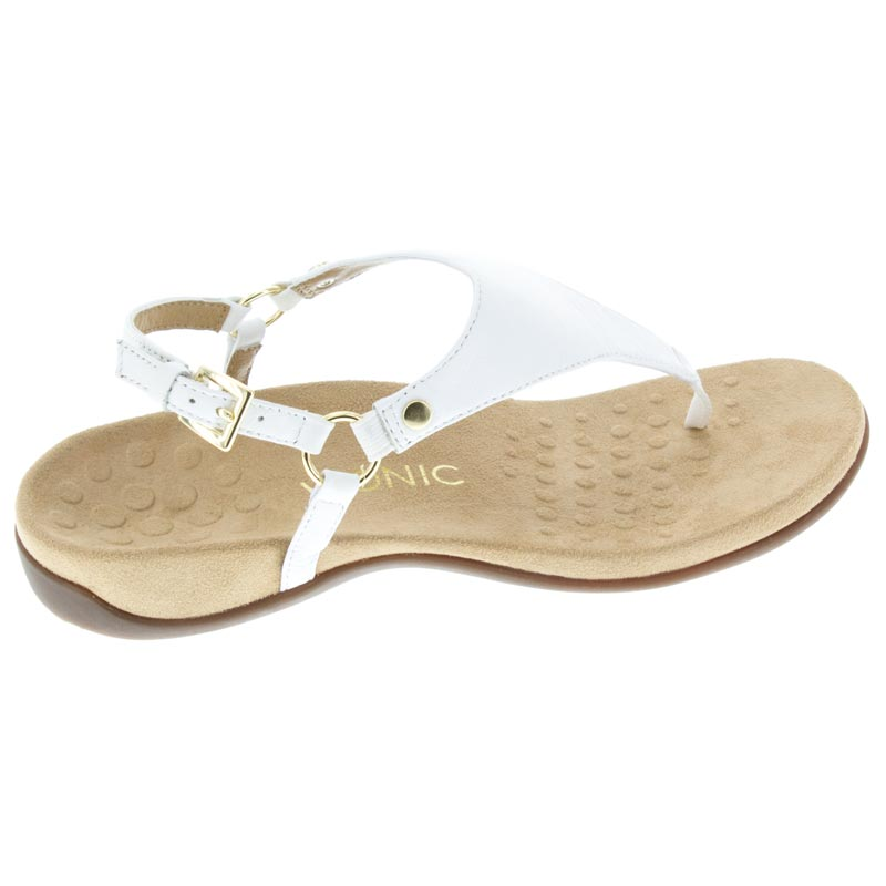 491983bb1fd Vionic Kirra White Leather right side view. The thong sandal gets ...