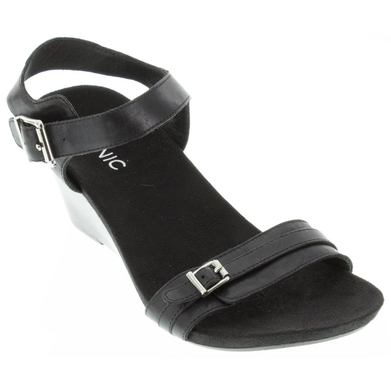 Vionic Laurie Leather Black Sandals