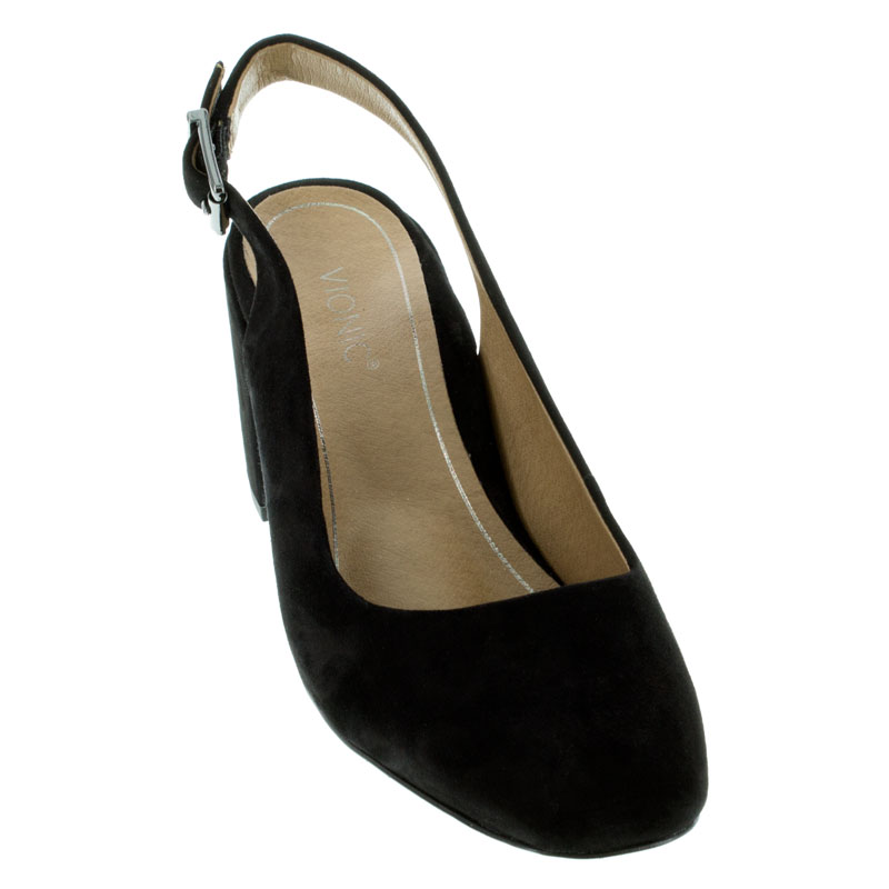 Vionic Nareen Black Suede High Heel Shoes front view