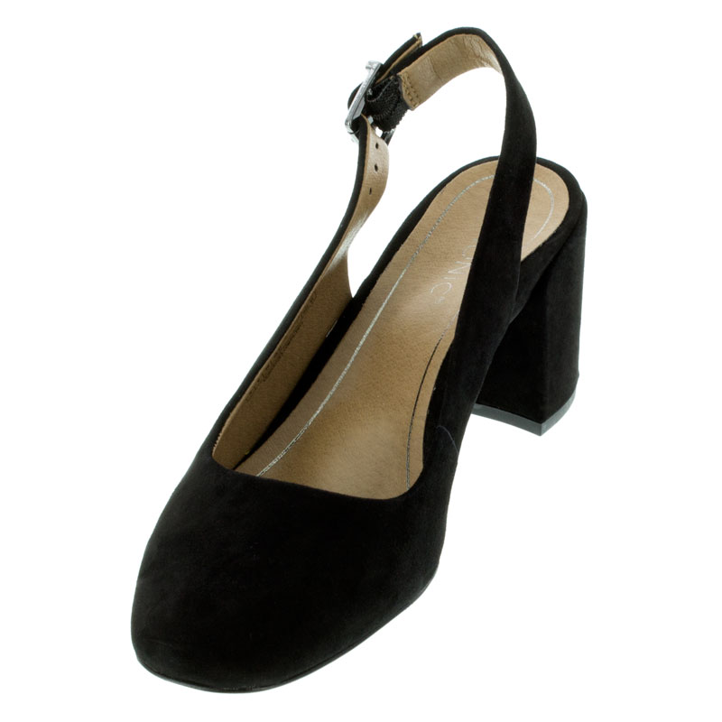 Vionic Nareen Black Suede High Heel Shoes left front view
