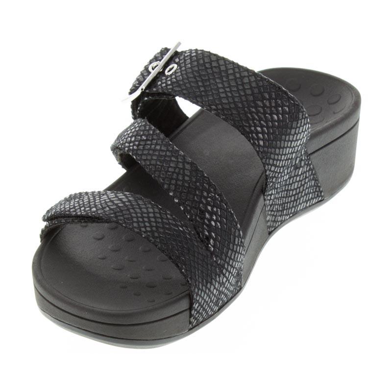 Vionic Rio Black Synthetic Sandal left front view