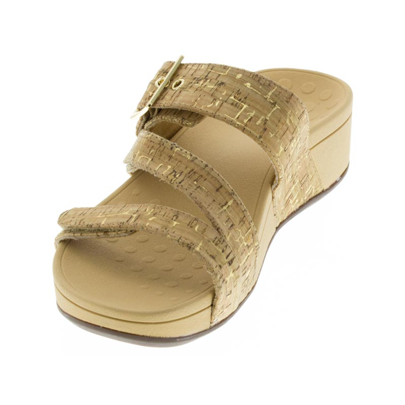 Vionic Rio Gold Synthetic sandals left front view