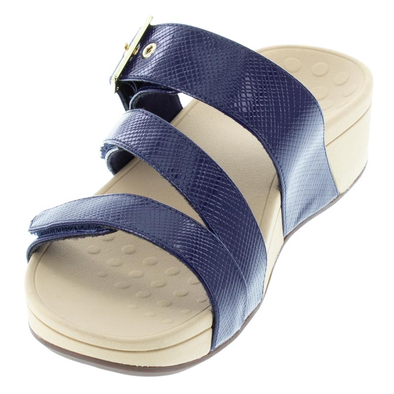 Vionic Rio Navy Lizard Synthetic Sandals left front view