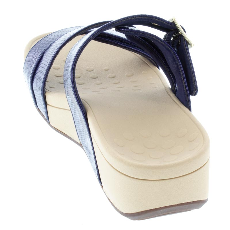Vionic Rio Navy Lizard Synthetic Sandals back view
