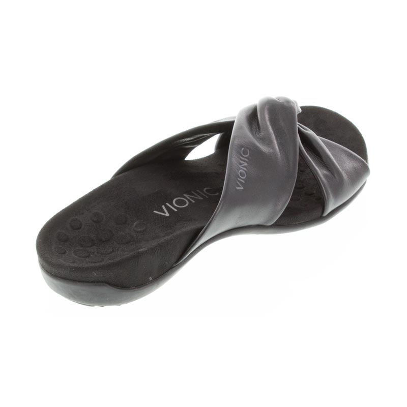 Vionic Shelley Black Leather sandals right side view