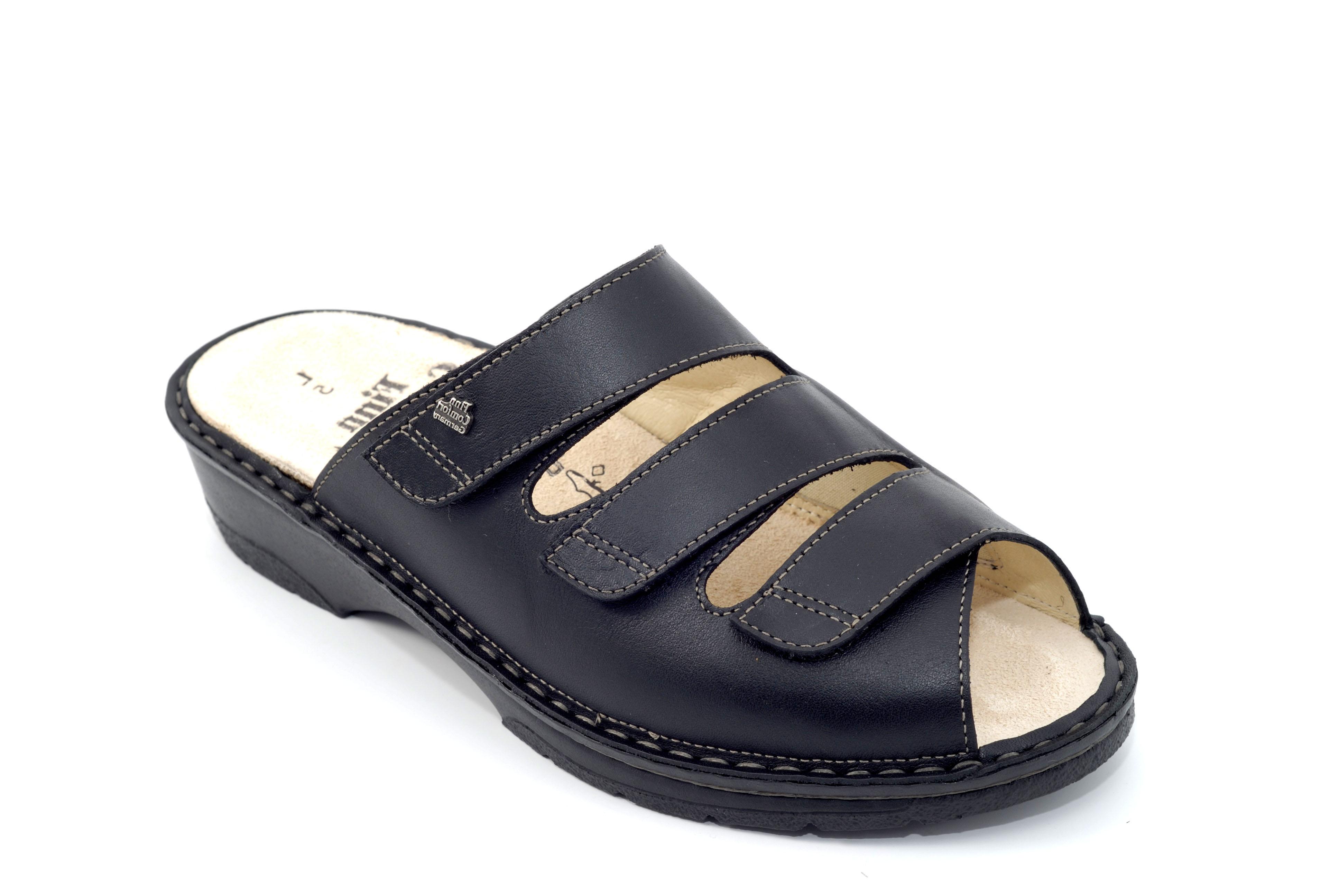 Finn Comfort Tillburg Leather Soft Footbed Sandal Black