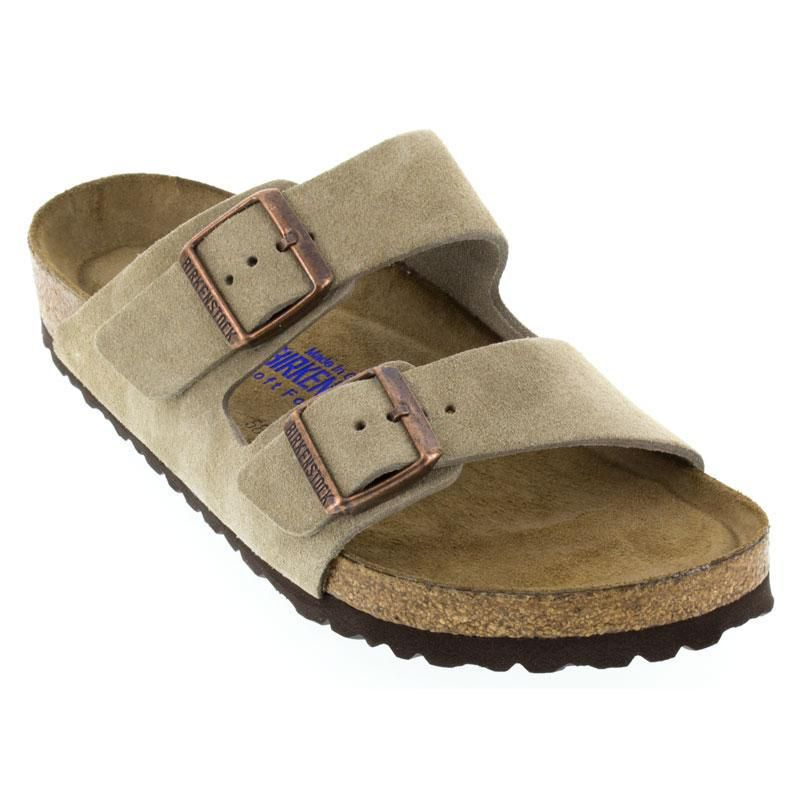 Womens And Mens Birkenstock Arizona Taupe Suede Soft Footbed ... c57326342d89
