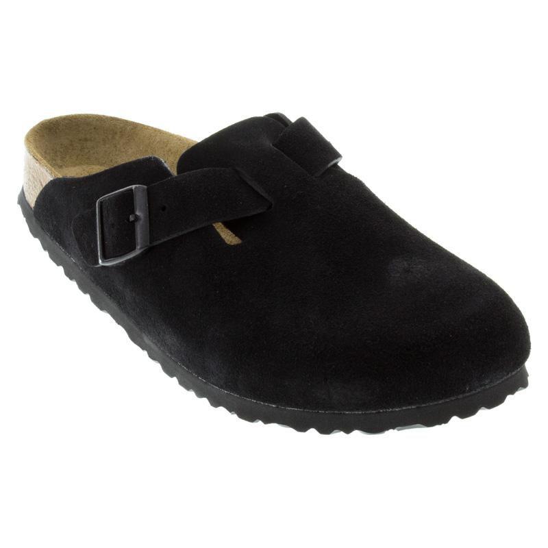 900a7e5e1ec1 Womens And Mens Birkenstock Boston Black Suede Soft Footbed ...