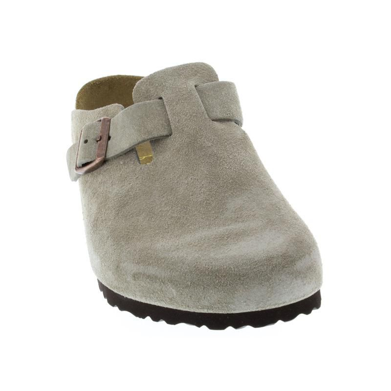 3b8de484a94f Womens And Mens Birkenstock Boston Taupe Suede - Happyfeet.Com