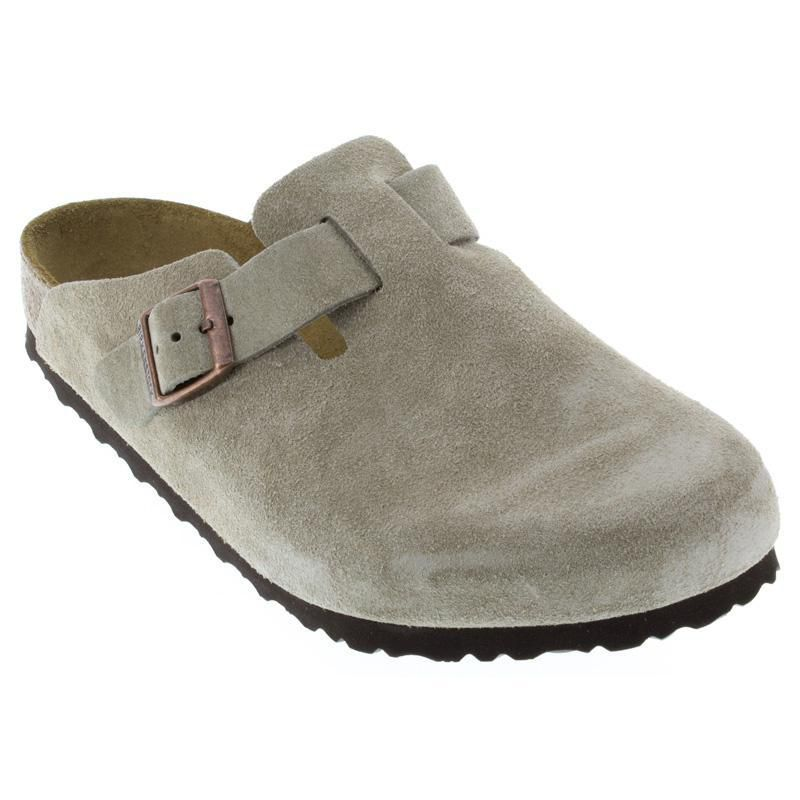 5db427a751 Womens And Mens Birkenstock Boston Taupe Suede - Happyfeet.Com