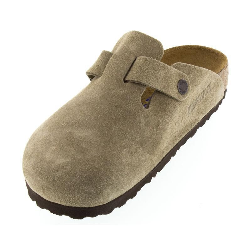 Birkenstock Boston Taupe Suede Soft Footbed
