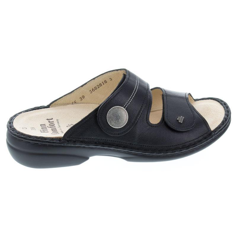 Finn Comfort Sansibar Black Leather Soft Footbed