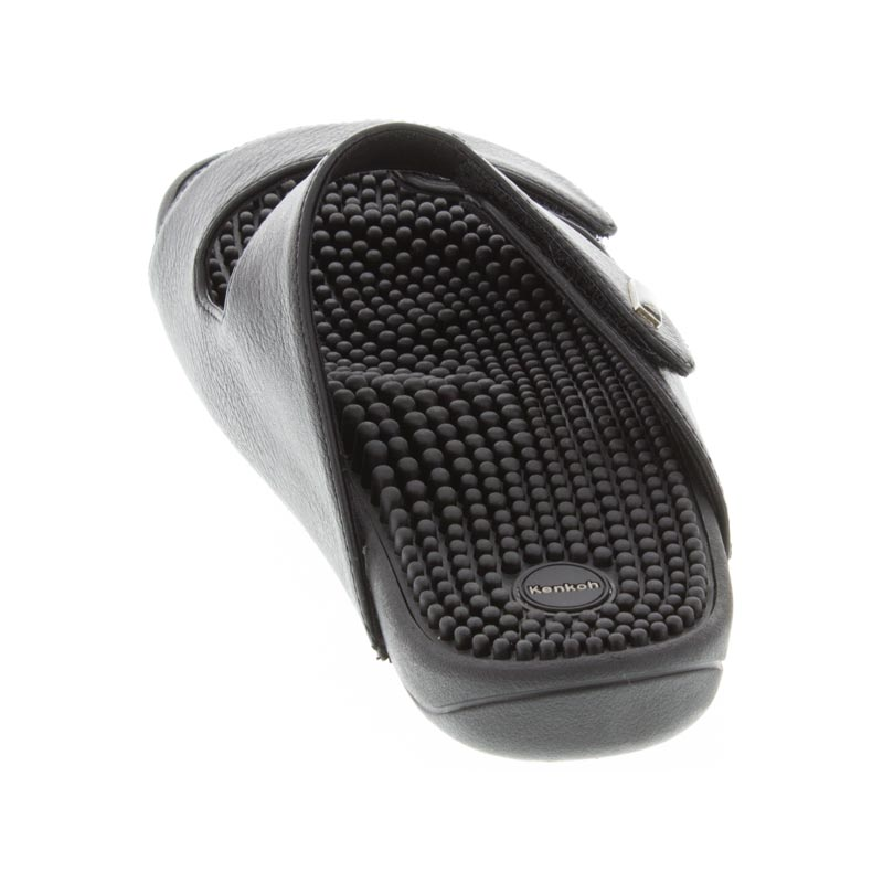 Kenkoh Serenity 2 Black Synthetic Massage Sandal rear, right shoe