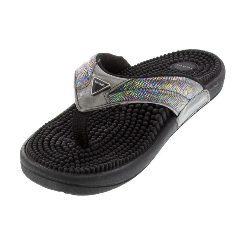 Kenkoh Spirit Silver Metallic Massage Sandal left front view